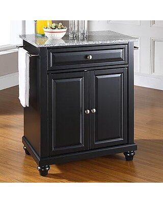 Three Posts Hedon Kitchen Cart With Granite Top W001603018 Base Finish Black