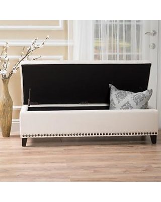 Swell Noble House Noble House Iris Beige Fabric Storage Ottoman Caraccident5 Cool Chair Designs And Ideas Caraccident5Info