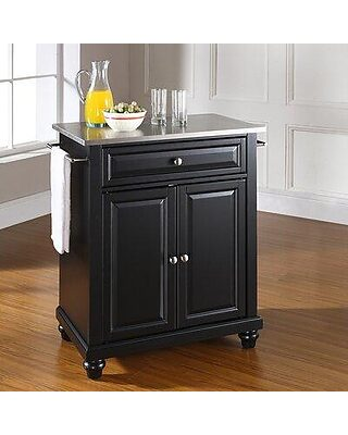 Three Posts Cambridge Kitchen Cart With Stainless Steel Top W001821898 Base Finish Black