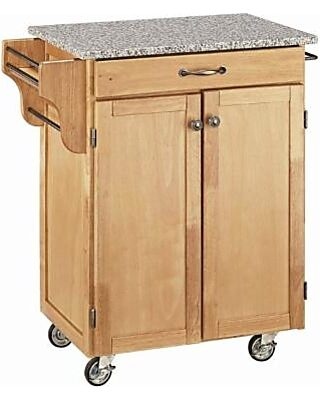 Modern Kitchen Cart, Solid Wood With Salt and Pepper Granite Top, 1-Drawer