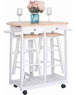 Kitchen Carts on Wheels, Drop-Leaf kitchen Island with Bar Stools, Folding  kitchen Trolley Cart Set with 2 Storge Drawers and 2 Stools, Space Saving  ...