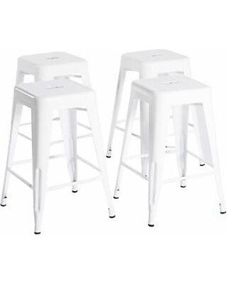 Stupendous Bold Tones 24 High White Metal Bar Stools Set Of 4 From Short Links Chair Design For Home Short Linksinfo