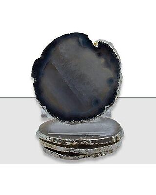 Mercer41 Agate Coaster with Silver Trim BF218986 Color: Natural