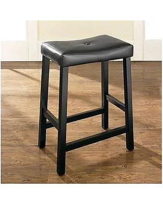 """CF500524-MA Crosley Upholstered Square Seat 24/"""" Bar Stools Mahogany Set of 2"""