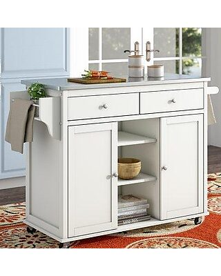 Alcott Hill Brecht Kitchen Cart With Stainless Steel Top Acot6810
