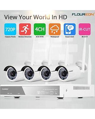 FLOUREON 4CH Wireless CCTV 1080P DVR Kit Outdoor Wifi WLAN 720P IP Camera  Security Video Recorder NVR System US