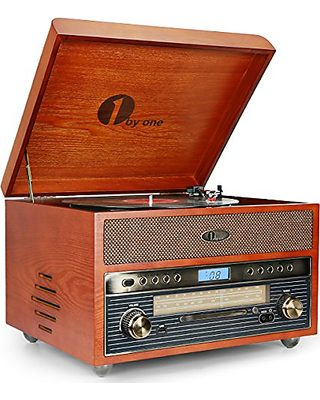 1byone 1byone Nostalgic Wooden Turntable Bluetooth Vinyl