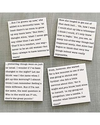 Alice in Wonderland Crisis Quotes Print Coaster Set, Book Lover Gift, Gifts  for Readers
