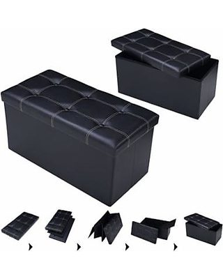 Swell Apontus 30 Large Folding Ottoman Storage Seat Black From Andrewgaddart Wooden Chair Designs For Living Room Andrewgaddartcom
