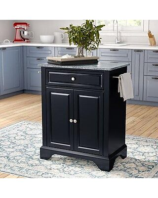 Three Posts Hedon Kitchen Island With Granite Top W001603076 Base Finish Black