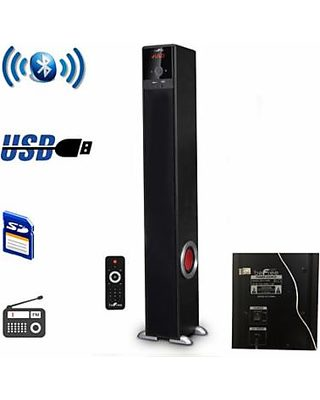 """NYC Acoustics X-Tower Dual 4/"""" Bluetooth Speaker w// Sound Activated LED/'s+Remote"""