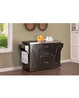 Gracie Oaks Jax Kitchen Island with Stainless Steel Top GRCK2166 Base  Finish: Black