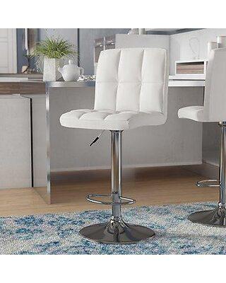 Brayden Studio Lucht Adjustable Height Swivel Bar Stool BRSD3493  Upholstery: White