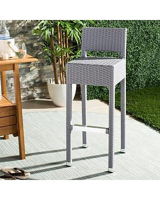 Magnificent Safavieh Safavieh Indoor Outdoor Wicker Bar Stool Grey Caraccident5 Cool Chair Designs And Ideas Caraccident5Info