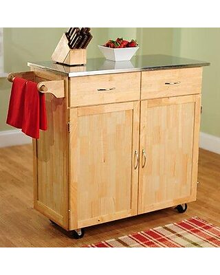 Tms Large Kitchen Cart With Stainless Steel Top 60047nat