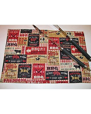 Country Kitchen Linens BBQ Print Placemats (Individually ...