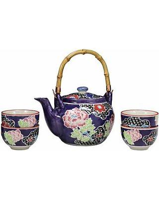 Royalty Porcelain 17pc Cobalt Blue Tea set /'Second Date/' Flower Print Tableware