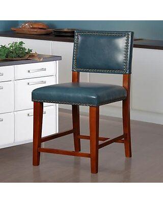 Brilliant Linon Blake Faux Leather Counter Stool Blue Short Links Chair Design For Home Short Linksinfo