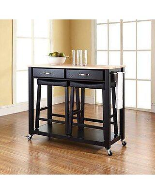 Three Posts Hedon Kitchen Island Set W001603093 Frame Finish: Black