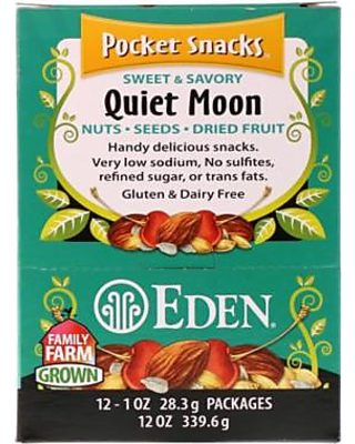 Eden Foods Pocket Snacks Quiet Moon Nuts Seeds Dried Fruit 12 Packages 1 oz  28 3 g Each